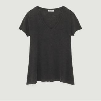 American Vintage Gray Cotton and Viscose Short Sleeves Kobibay T-shirt - gray | cotton | small