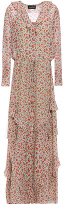Saloni Izzie Ruffle-trimmed Floral-print Silk-georgette Maxi Dress