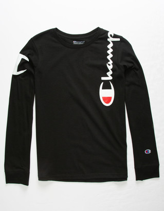Champion Shoulder Script Black Boys T-Shirt