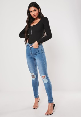 Missguided Blue Distress Knee High Waist Skinny Jeans