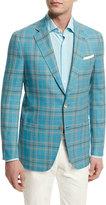 Isaia Plaid Two-Button Wool Jacket, Aqua