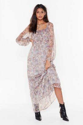 Nasty Gal Womens Get Over Sheer Floral Maxi Dress - Grey - 6