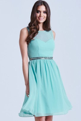 Little Mistress Sage Blue Mesh Insert Embellished Dress