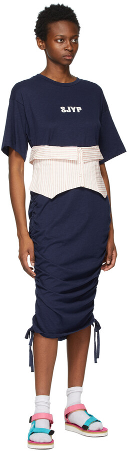 Thumbnail for your product : Sjyp Navy & Pink Jersey Bustier Dress