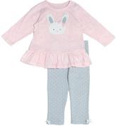 Cutie Pie Baby Pink Bunny Ruffle-Hem Tee & Pants - Infant