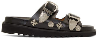 Toga Pulla Black Double Buckle Charms Sandals