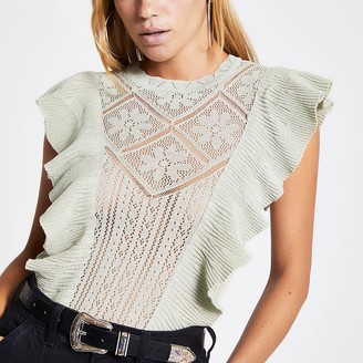 River Island Green frill front lace knitted top