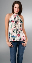 Print Sleeveless Silk Top with Ruffles