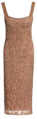 Rachel Gilbert Wanda Embellished Squareneck Cocktail Dress