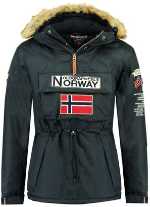 Geographical Norway Barman Slip-On Parka with Faux Fur Hood and Pockets