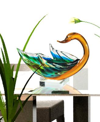 Dale Tiffany Swan Bowl Art Glass Sculpture