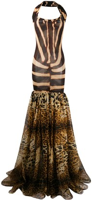 Gianfranco Ferré Pre Owned 1990s Animalier Print Flared Gown