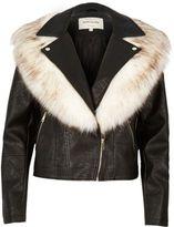 River Island Womens Black faux fur collar biker jacket