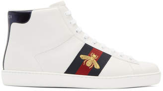 Gucci White Bee New Ace High-Top Sneakers