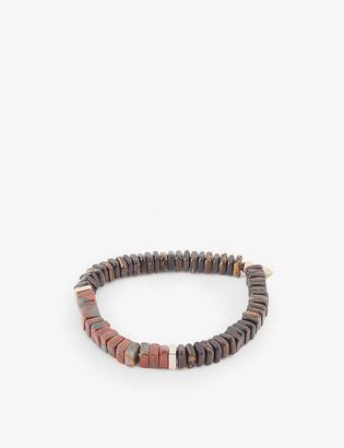 Tateossian Legno wood, tiger eye and rose-gold bead bracelet