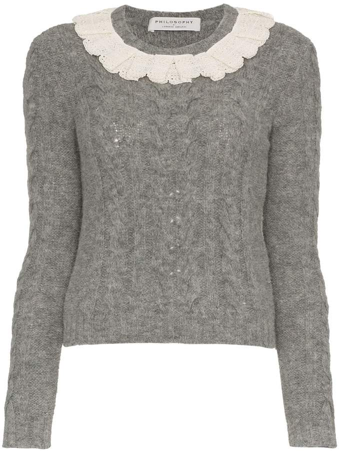 Philosophy di Lorenzo Serafini Lace collar wool-blend sweater