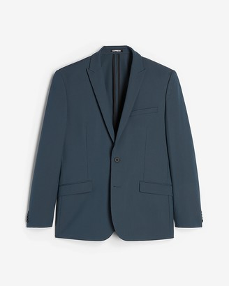 Express Extra Slim Navy Houndstooth Tech Suit Jacket