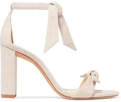 Alexandre Birman Clarita Bow-embellished Linen Sandals - Cream