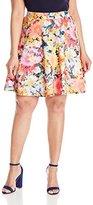 Modamix Women's Plus-Size Printed Scuba Skater Skirt