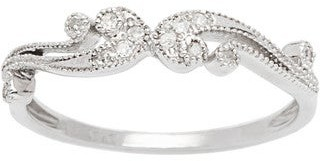 Viducci 10k White Gold 1/6ct TDW Pave Diamond Vintage Style Ring