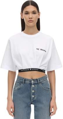 Natasha Zinko Cropped Cotton T-shirt W/ Logo Hem