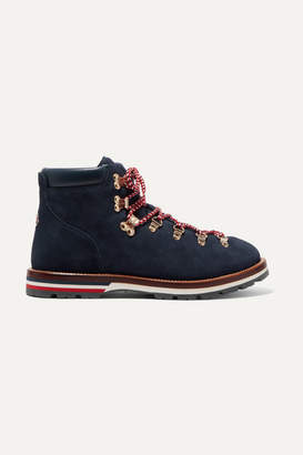Moncler Blanche Shearling-lined Suede Ankle Boots - Navy