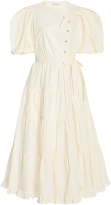 Ulla Johnson Agathe Tiered Cotton Midi Dress