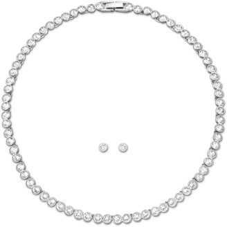 Swarovski Tennis Collection Jewellery Set - Women's Necklace and Earring Pair with White Crystals in a Rhodium Plating