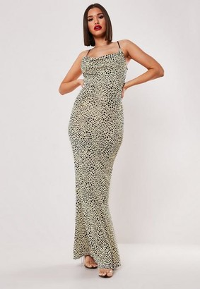 Missguided Stone Leopard Print Slinky Cowl Maxi Dress