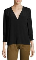 BA&SH Leo Smocked V-Neck Top, Noir