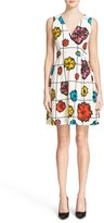 Moschino Women's Floral & Grid Print Wool Blend Dress