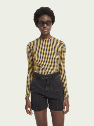 Scotch & Soda Checked long sleeve crew neck t-shirt | Women