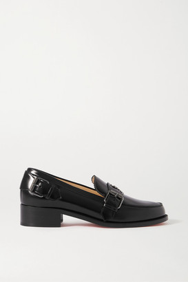 Christian Louboutin Monmoc 40 Logo-embellished Buckled Leather Loafers - Black