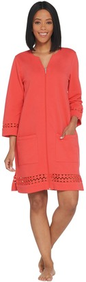 Denim & Co. Beach French Terry Zip-Front Dot Lace Detail Cover-Up