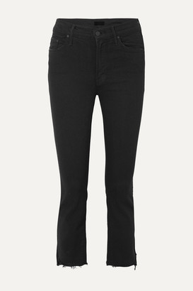 Mother The Insider Crop Distressed High-rise Flared Jeans - Black