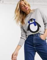 Brave Soul christmas jumper with penguin applique
