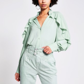River Island Womens Light Green embellished collar frill shirt