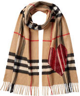 Burberry Checked Cashmere Scarf with Heart Embellishment