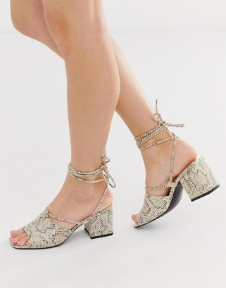 Public Desire Heidi snake print ankle tie mid heeled sandals