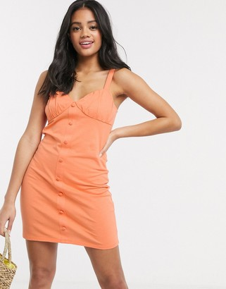 ASOS DESIGN button through cupped dress in apricot