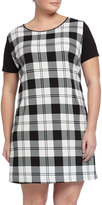 Melissa Masse Zebra-Print Short-Sleeve Shift Dress, Black/White, Women's