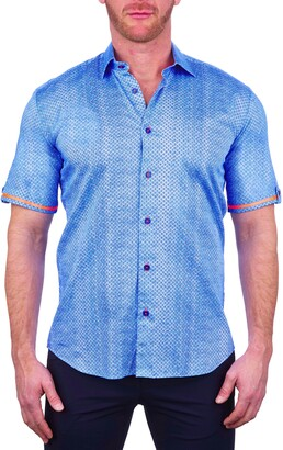 Maceoo Galileo Dual Diamond Blue Short Sleeve Button-Up Shirt