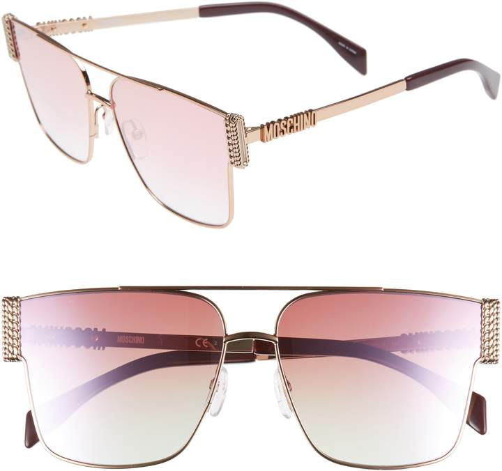 Moschino 60mm Polarized Aviator Sunglasses