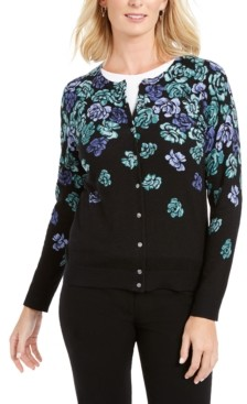 Karen Scott Serenity Floral-Print Cardigan, Created for Macy's