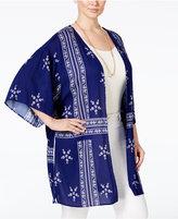 Stoosh Trendy Plus Size Printed Kimono Cardigan