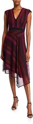 Nanette Lepore V-Neck Sleeveless Striped Lace Asymmetrical Dress