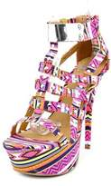 Dollhouse Guardian Women Open Toe Canvas Pink Platform Sandal.