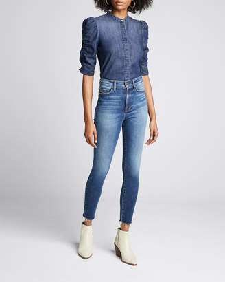 Frame Button-Front Elbow-Sleeve Shirred Denim Shirt