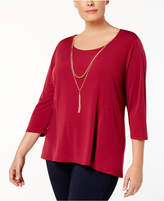 NY Collection Plus Size 3/4-Sleeve Necklace Top
