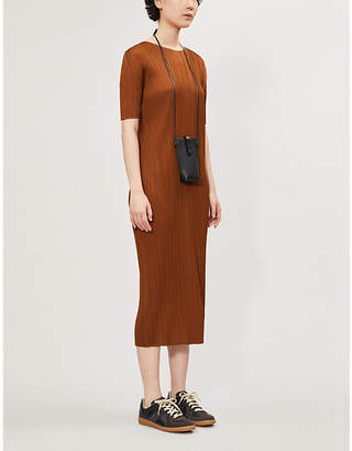 Pleats Please Issey Miyake Pleated short-sleeved woven dress